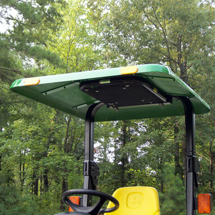 & Fiberglass Tractor u0026 Mower Canopy with Down Draft Fan - Green