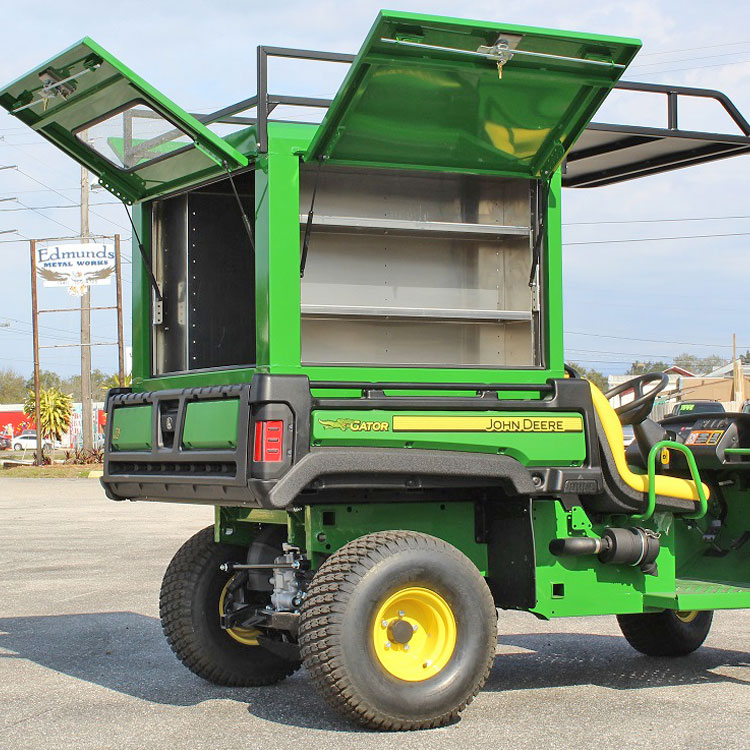 utility bed box with 3 gull wing doors for john deere gator. Black Bedroom Furniture Sets. Home Design Ideas