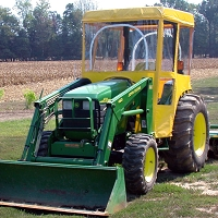 Tractor Cab Enclosure for John Deere 110TLB - Yellow - Requires Factory Plastic Roof 4 Post Rops