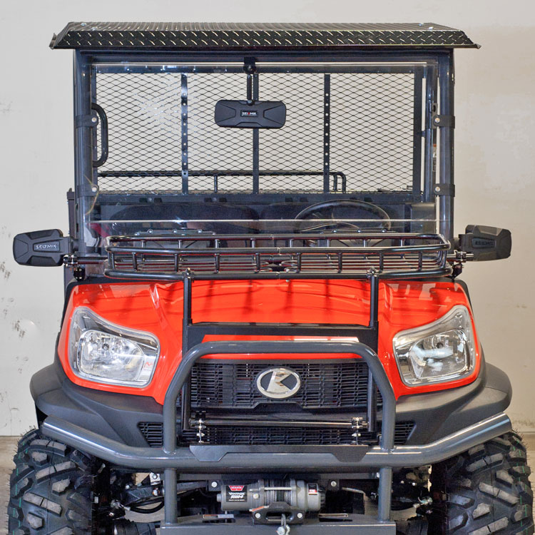 Diamond Plate Roof for Kubota RTVX900 u0026 RTVX1120 - Powder Coated in Black & Diamond Plate Aluminum Canopy Kit for Kubota RTV900