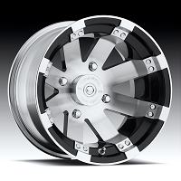 "14"" BuckShot Machine Polished UTV Wheel with Gloss Black Insets"