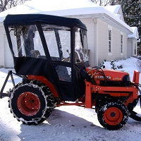 Tractor Cab-Enclosure for Massey Ferguson GC2310, GC2410, GC2610 with Folding ROPS - Black. Requires Tel-Trax 1900 Fiberglass Canopy Kit