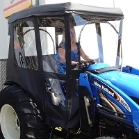 Tractor Cab-Enclosure for New Holland  TC23 and TC24 with Folding Rops and Existing N1 Fiberglass Canopy - Black