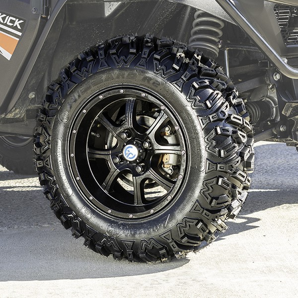 "Tire-Wheel Package: 14"" Matte-Black Aluminum Wheel with Wizard R2 27"" x 9"" All Terrain Tire"