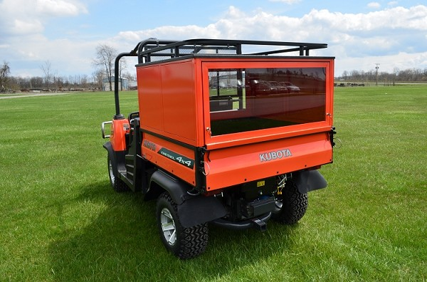 "24"" Bed Cap with Hinged Rear Glass Door & Roof Rack for Kubota RTV X-Series"