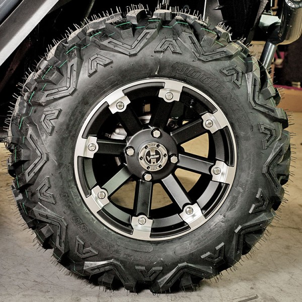 "Tire- Wheel Package: 14"" Lockout Machine Lip Wheel with Journey 27"" x 10"" All Terrain Tire"