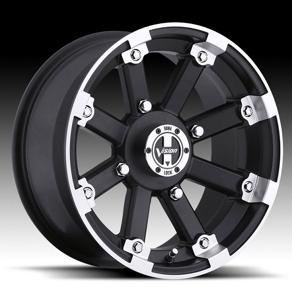 "14"" x 8"" Lockout Matte Black with Machined Lip UTV Wheel - 5x4.5(5x114.3) Bolt Pattern"